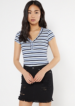 Blue Striped Button Down Baby Tee