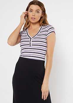 Purple Striped Button Down Baby Tee