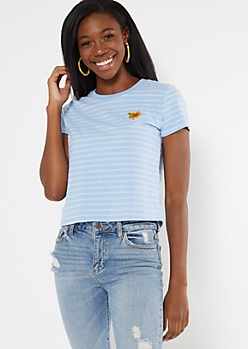 Blue Striped Sunflower Embroidered Boxy Tee