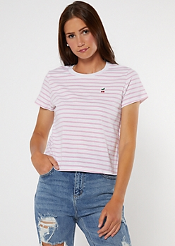 Pink Striped Cherry Embroidered Tee