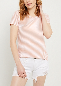 Salmon Striped Favorite Blend Crewneck Tee