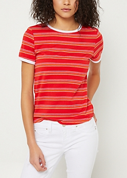Red Striped Ringer Tee