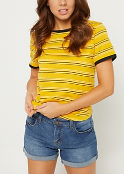 Dark Yellow Striped Ringer Tee