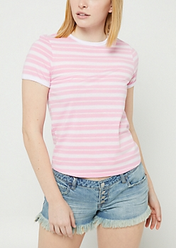 Pink Striped Ringer Tee