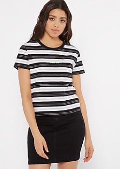 Black Striped Vibes Embroidered Tee