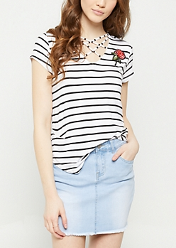 Striped Rose Cross Strap Tee