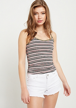 Dark Olive Striped Contrast Basic Cami