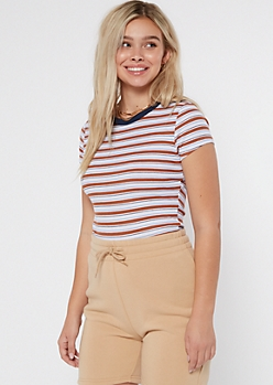 Burnt Orange Striped Ribbed Knit Ringer Baby Tee