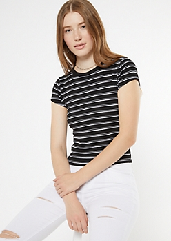Black Striped Ribbed Knit Ringer Baby Tee