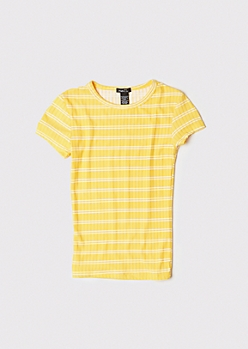 Yellow Striped Super Soft Ribbed Baby Tee