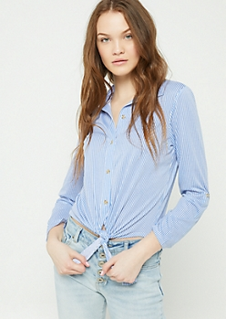 Blue Stripe Print Tie Button Down Shirt