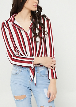Red Stripe Print Tie Button Down Shirt