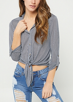 White Stripe Print Tie Button Down Shirt