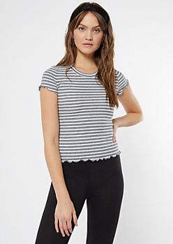 Gray Striped Lettuce Edge Tee