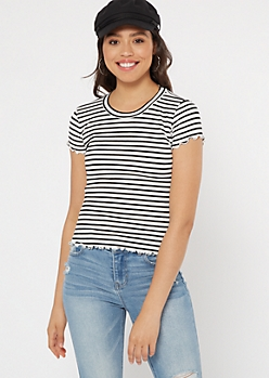 White Striped Lettuce Hem Top