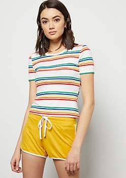 White Rainbow Striped Ribbed Knit Skimmer Tee