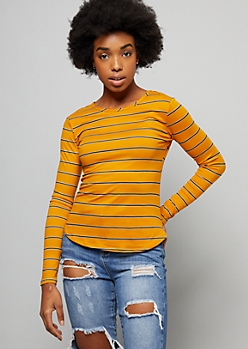 Mustard Striped Super Soft Long Sleeve Tee