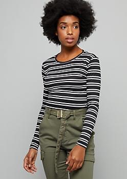 Black Striped Super Soft Long Sleeve Tee