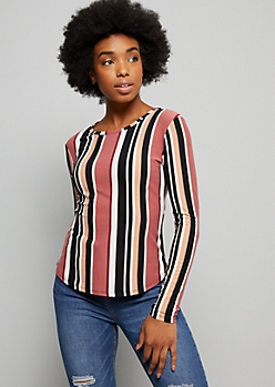 Taupe Striped Super Soft Long Sleeve Tee