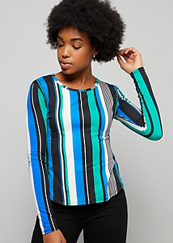 Teal Vertical Striped Super Soft Long Sleeve Tee