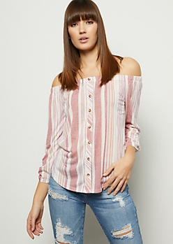 Pink Striped Off The Shoulder Button Down Shirt