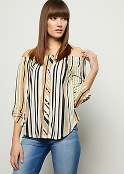 Beige Striped Off The Shoulder Button Down Shirt