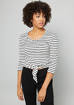 White Striped Tie Front Elbow Sleeve Tee