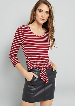 Burgundy Striped Tie Front Elbow Sleeve Tee