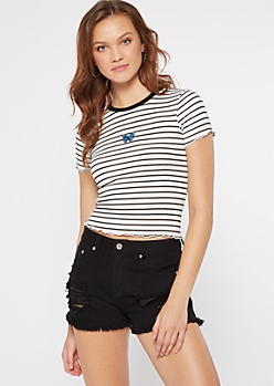 White Striped Embroidered Butterfly Ribbed Knit Baby Tee