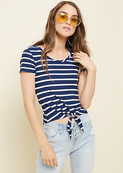 Navy Striped Super Soft Tie Front Tee