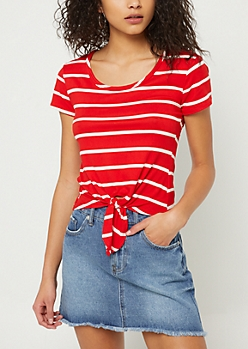 Red Striped Tie Front Tee