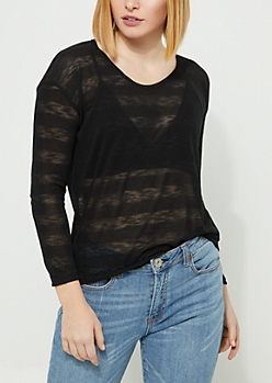 Black Striped Sheer Knit Top