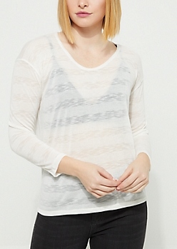 Ivory Striped Sheer Knit Top