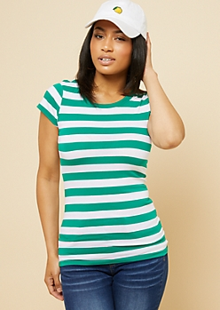 Kelly Green Striped Crew Neck Fitted Tee