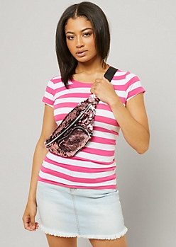 Pink Striped Crew Neck Fitted Tee