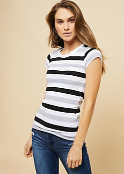 Black Multi Striped Crew Neck Fitted Tee
