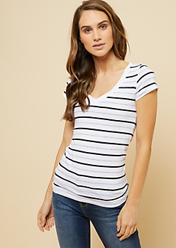 White Multi Striped V Neck Fitted Tee