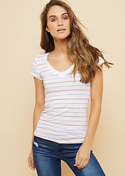 Pink Multi Striped V Neck Fitted Tee