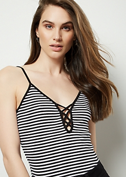 Black Striped Ribbed Knit Lattice Tank Top