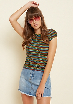 Black Rainbow Striped Ribbed Knit Tee