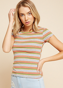 Gray Rainbow Striped Ribbed Knit Tee
