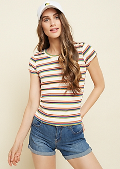 White Rainbow Striped Ribbed Knit Tee