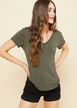 Dark Olive Striped Favorite Relaxed Fit Tee
