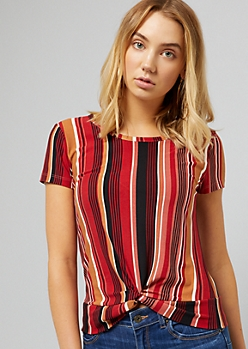 Red Vertical Striped Knot Front Tee