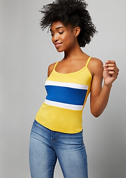Yellow Colorblock Super Soft Cropped Tank Top