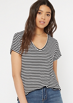 White Striped Essential V Neck Tee
