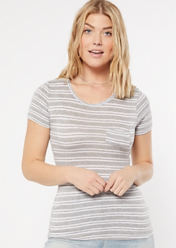 Gray Striped Short Sleeve Favorite Tee