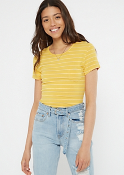 Yellow Striped Short Sleeve Favorite Tee