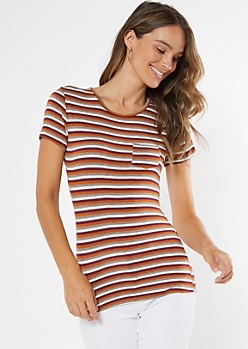White Striped Short Sleeve Favorite Tee