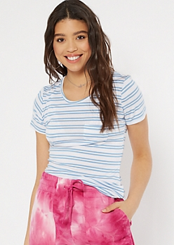 Blue Striped Short Sleeve Favorite Tee